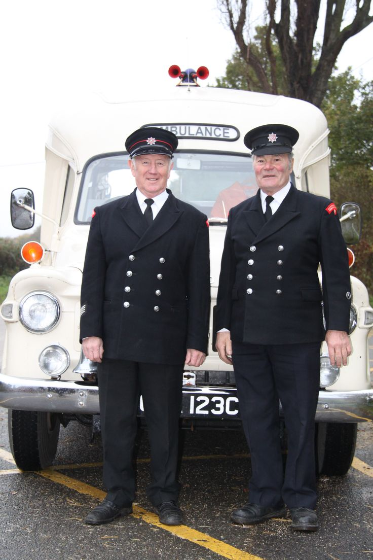 How it used to be! Enthusiasts from the Ambulance Heritage Society take part in filming with a 1967 Bedford J1 ambulance - to show how things have changed!