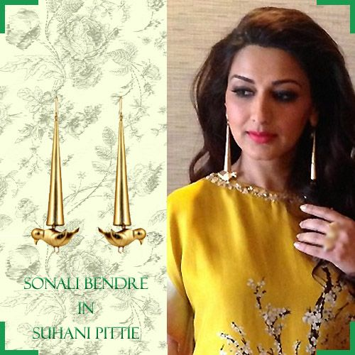 The Gorgeous Sonali Bendre Sparkles Like Sunshine In Our Conical Bird Earrings. Get Your Own @ bit.ly/sp-bird #SuhaniPittie #SonaliBendre #SummerCool #StatementJewelry