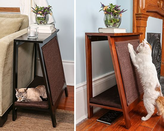 Here'a a great new multi-functional piece from The Refined Feline! It's their new A-Frame Cat Bed & Scratcher. This stylish piece combines attractive features for both you and your cat. The A-Frame serves as a beautiful side table with a comfortable bed below and a durable scratching surface on the outside. They really though out all the details. The…