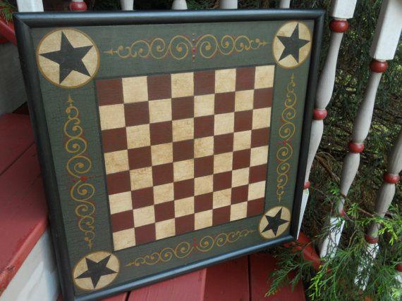 Primitive Checker Board Game Board Folk Art by JohnnyUNamath, $80.00