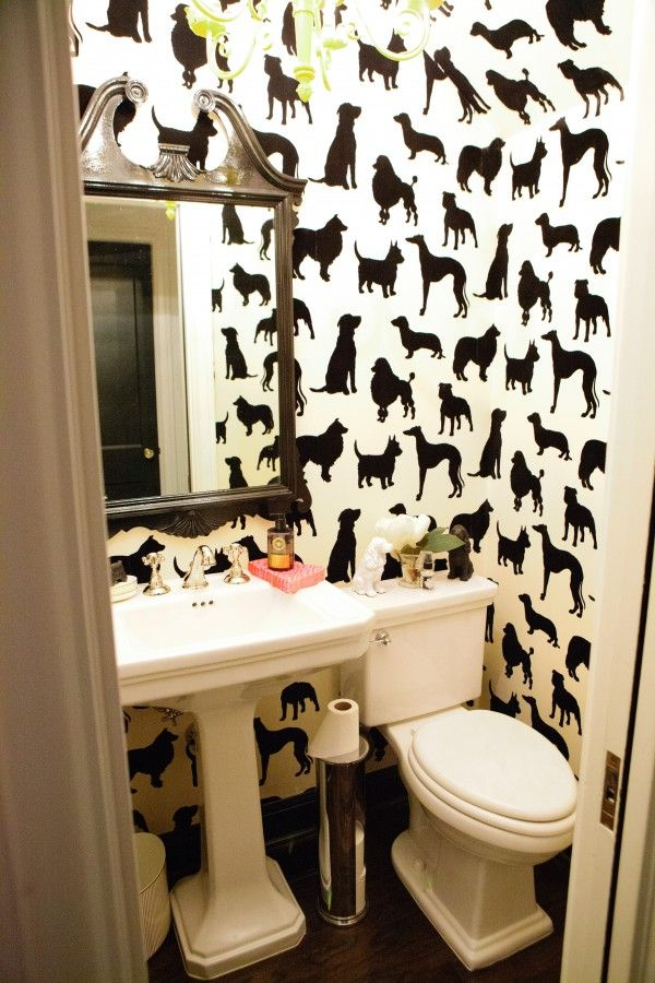 flocked wallpaper: Dog Wallpaper, Dogs Wallpapers, Amber Interiors, Wall Paper, Powder Bath, Interiors Design, Dogs Lovers, Powder Rooms, Bathroom Wallpapers