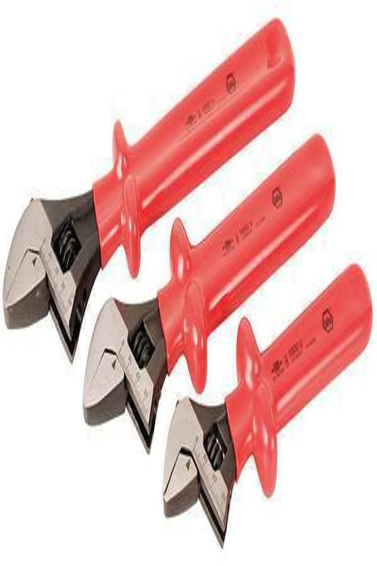 "WIHA TOOLS 76290 Adj Wrench Set,Ins.,8/"",10/"",12/"",3 Pc."