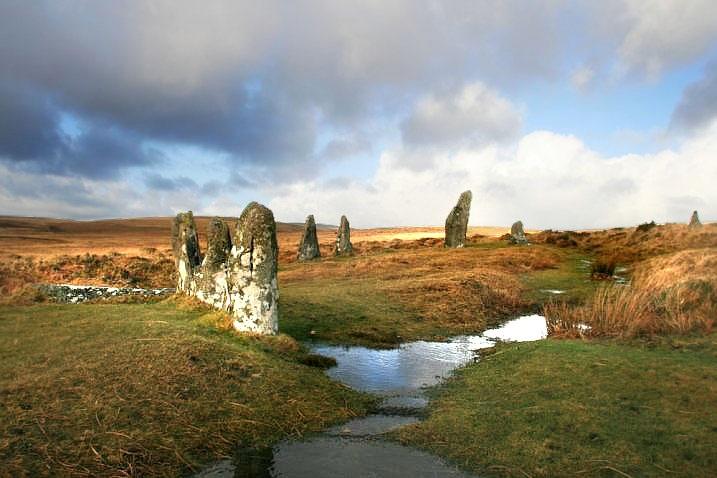 Scorhill stone circle, near the village of Gidleigh, Dartmoor.