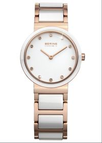 Bering White Ceramic Collection Rose Gold Case, Sapphire Glass, Part Ceramic Band