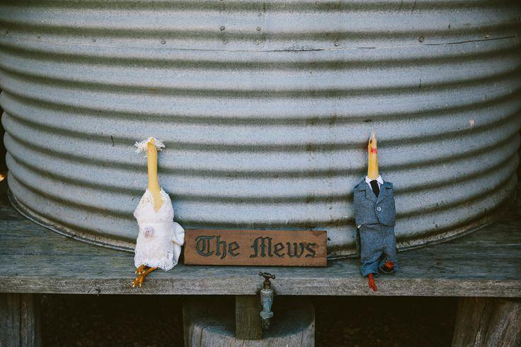 Quirky wedding idea. Alternatives for a bouquet toss/ garter toss. Bride and Groom rubber chickens :) Image: Cavanagh Photography http://cavanaghphotography.com.au