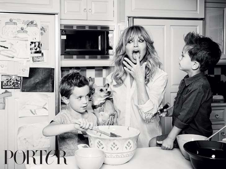 Goldie Hawn Poses With Her Grandsons in Porter Magazine and Explains Why She Never Married Kurt Russell