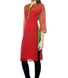 Buy Red plain Georgette kurtas-and-kurtis kurtas-and-kurti online