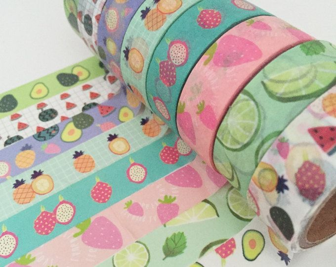 Fruit Washi Tape Set - 8 Roll Set, Pineapple Washi Tape, Watermelon Washi Tape, Strawberry Avocado Cucumber Fruity, Washi Tape Selection