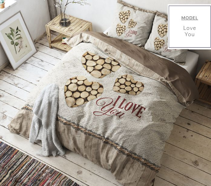 Klasyczne beżowe pościele z wysokiej jakości bawełny w ozdobne serca