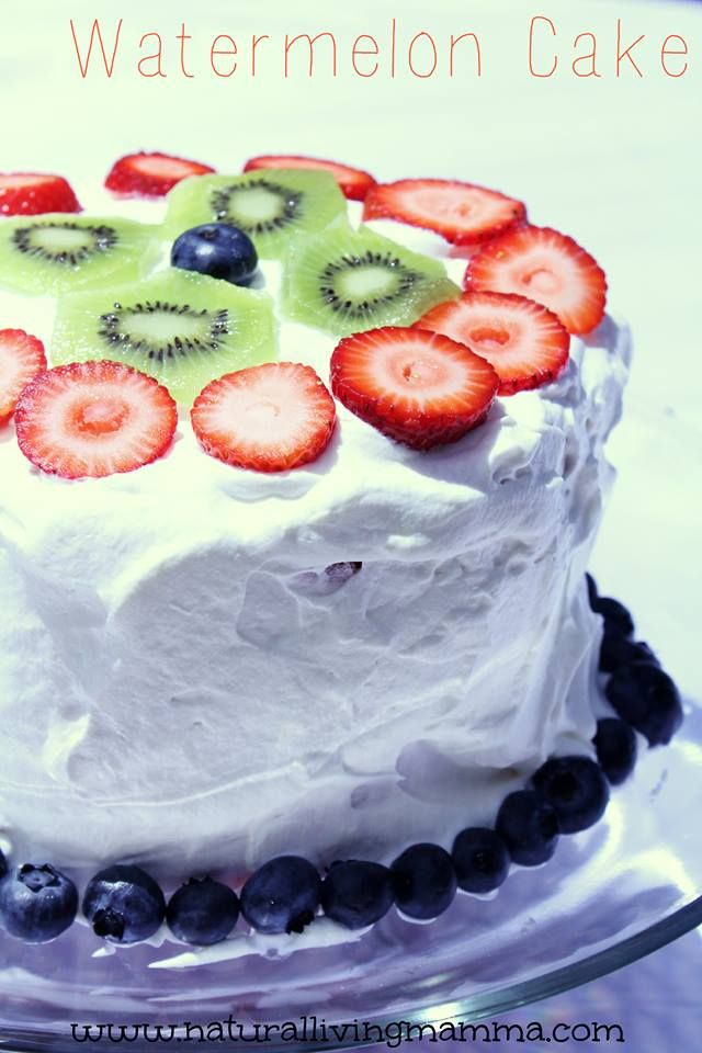 Homemade Watermelon Cake. 4 Ingredients. So simple. So delicious. #realfood Are you looking for a sugar-free and guilt-free summer dessert to serve at your next picnic or cook-out? What if I told you that this dessert also contains fresh fruit, is healthy, and your kids will love it?