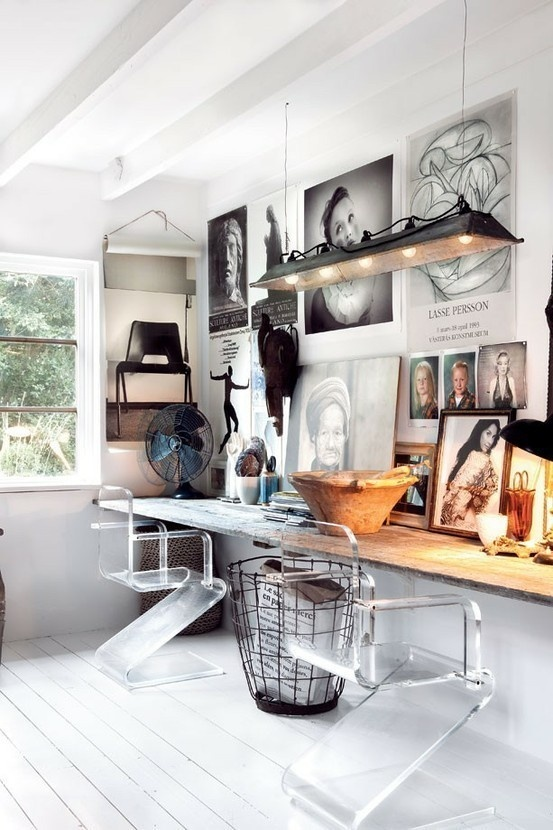 Found this beauty via Shelter's Blog. Love this natural meets art/fashion work space (image via Oughton Limited).