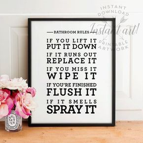 Bathroom rules PRINTABLE art,bathroom wall decor,bathroom printable art,shower art,flush toilet sign,flush the toilet, wash your hands sign
