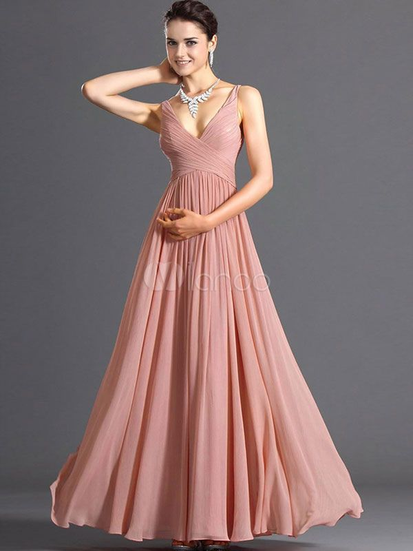 $24 - Pink Deep-V Pleated Chiffon Maxi Dress for Women