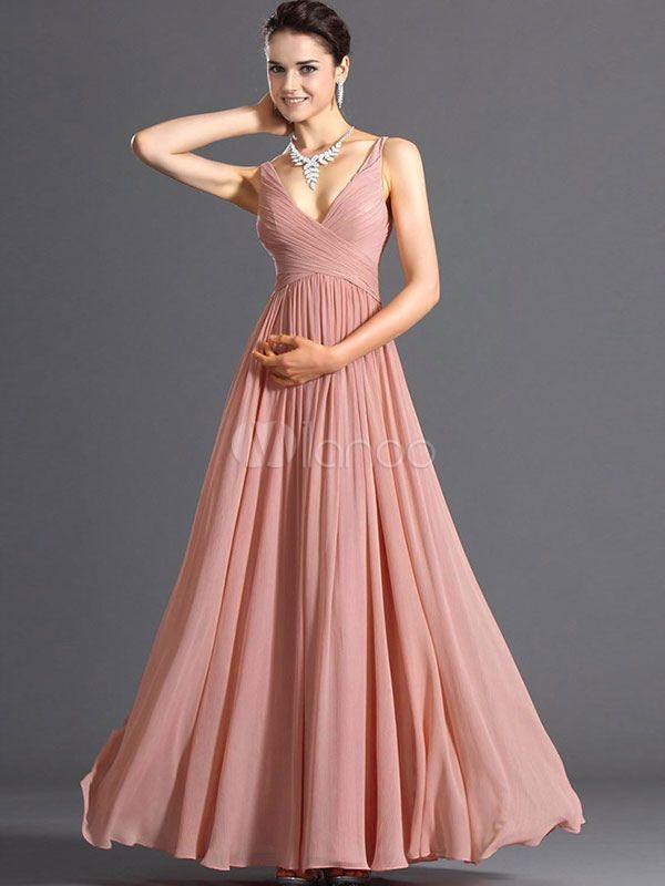 Deep-V rosa plissada do Chiffon vestido Maxi para as mulheres - Milanoo.com