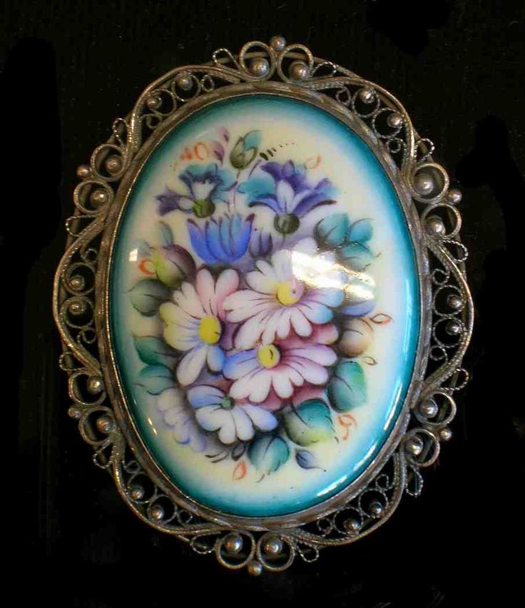 Floral Broach  Enamel Jewelry by RussianRostovJewell on Etsy