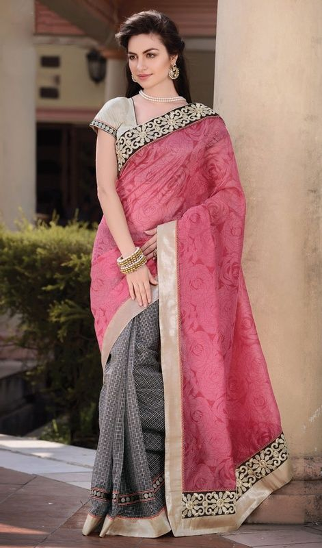 Cherish the exotic present by stepping into this rose pink and black chanderi silk half n half saree. The gorgeous block print and checkered decorative printed work a considerable feature of this saree. #EnticingCasualSaree