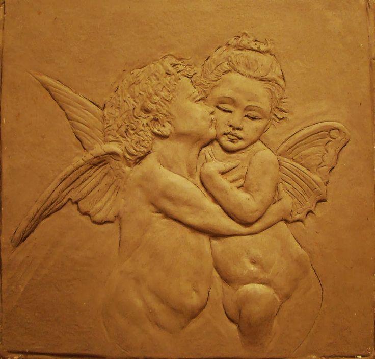 RELIEVES: Escultura relieve.Angeles.Medidas:30x30cm.Arcilla ...