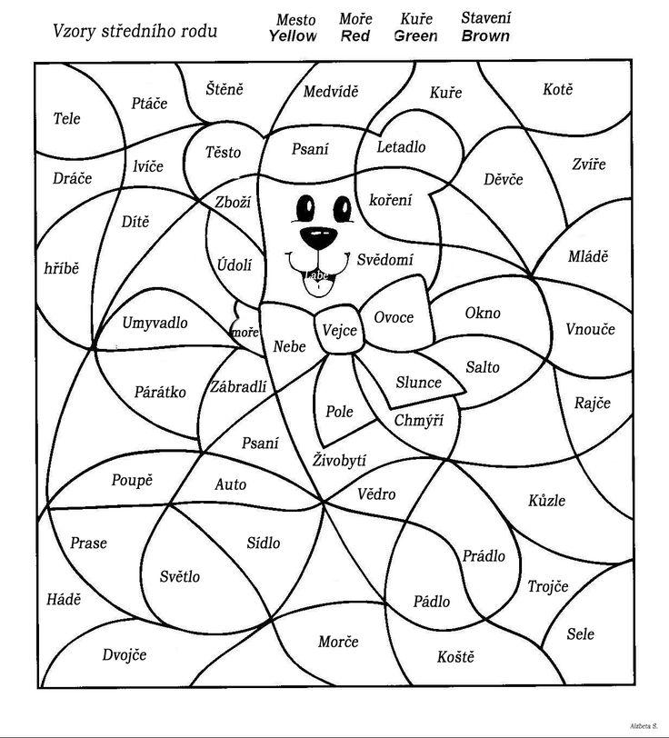 Vybarvování - Vzory středního rodu