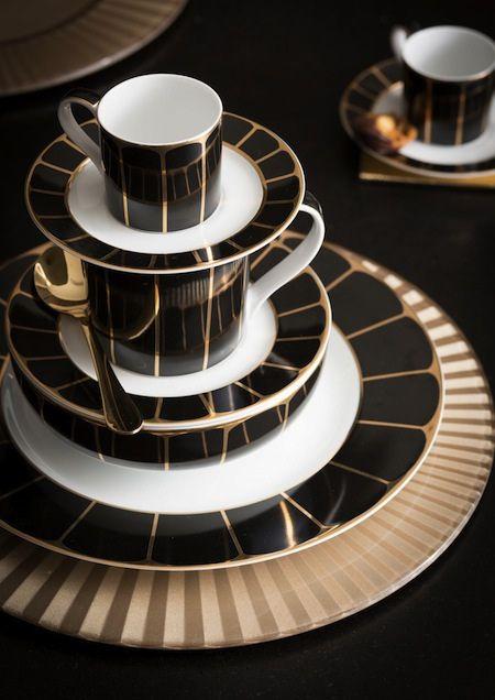 Glam Dinnerware at House of Fraser on AphroChic blog.  #gold #black