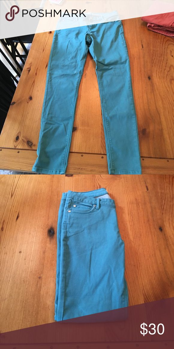EXPRESS blue/aqua jeans! Size 12 These super dope jeans were only worn once or twice. They're a really fun color and I wish they still fit! Express Jeans Skinny