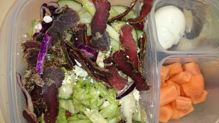 Lean biltong salad with feta cheese and carrots