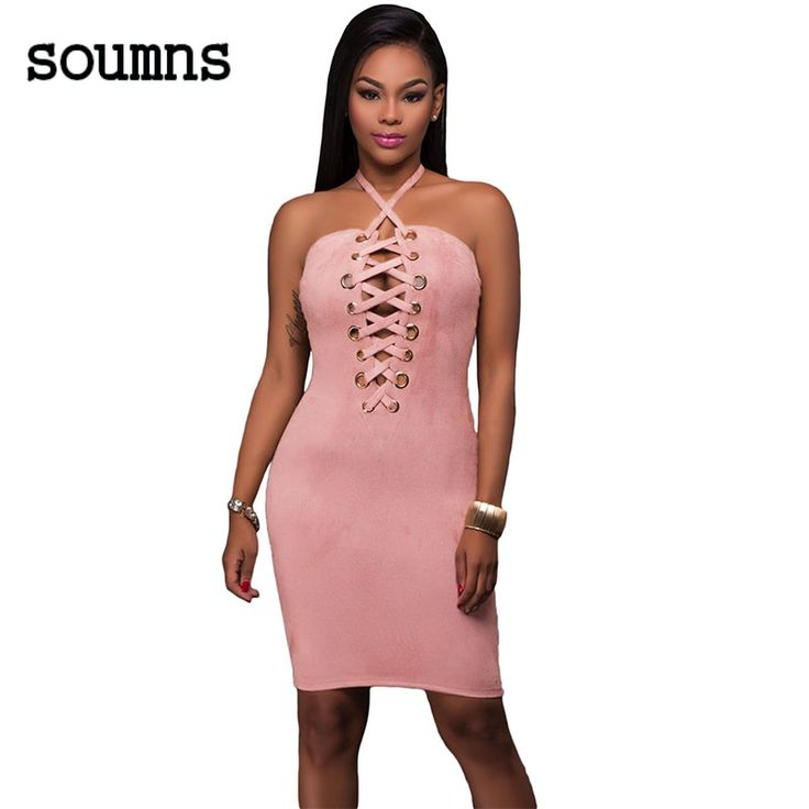 soumns NEW 2017 mode vrouwen party club jurken elegante stijl grommet detail halter suede bodycon dress vestido de festa 61467