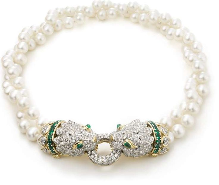 David Webb New York - South Sea cultured pearls, cabochon and circular-cut emeralds, brilliant-cut diamonds, 18K gold, and platinum