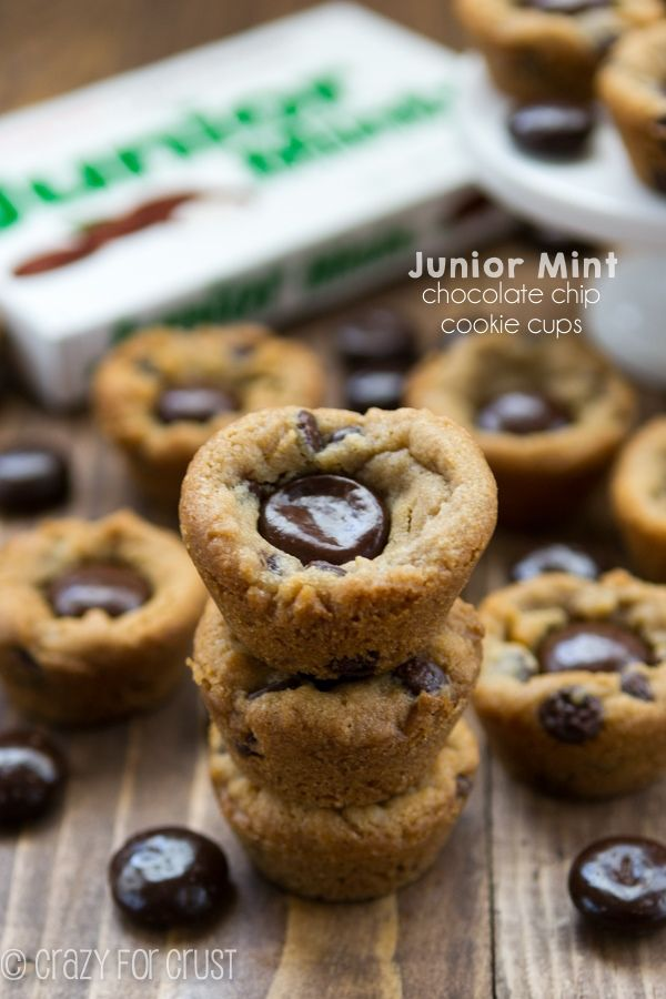 Junior Mint Chocolate Chip Cookie Cups - only 2 ingredients! These come together in minutes!