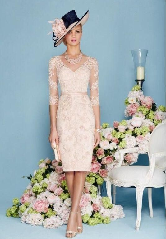 2017 Pink Lace Mother of Bride Outfits Length  Free Jacket Outfits Dress Custom