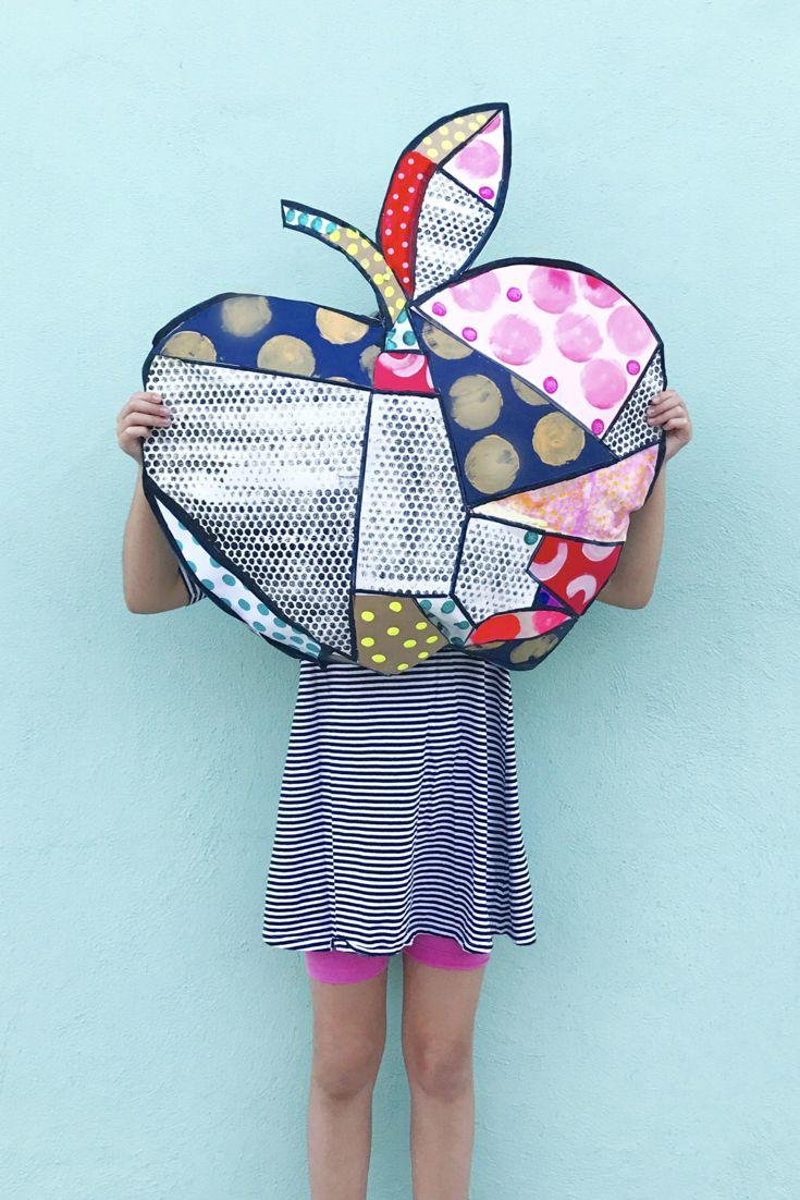Big Pop Art Apple | Pop Art Lesson | Apple art | Fine art for kids | K-8 art lessons | Britto | Lichtenstein | Printmaking | Collage