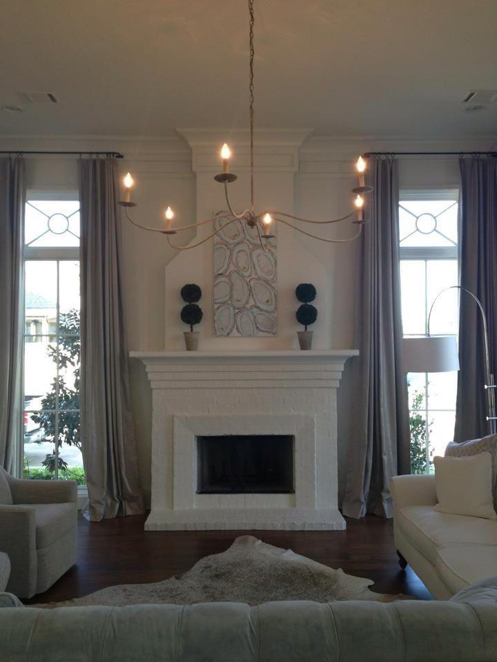 Fireplace between windows?? | home | Pinterest | Fireplace ...