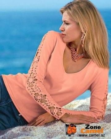 Letters and Arts of Lala: crochet blouse... Fabric and crochet LOVE IT ~!~