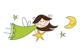Cartoon-Zeichnung: Fröhliche Fee mit Stern