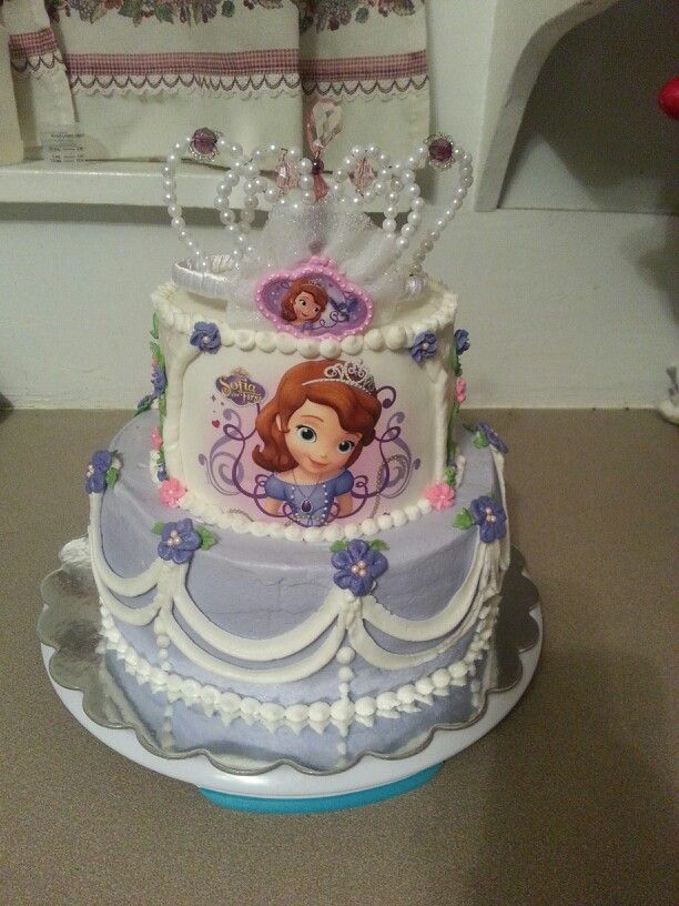 Sofia the first birthday cake. Used a sugar sheet I found on Amazon. Was a huge hit.