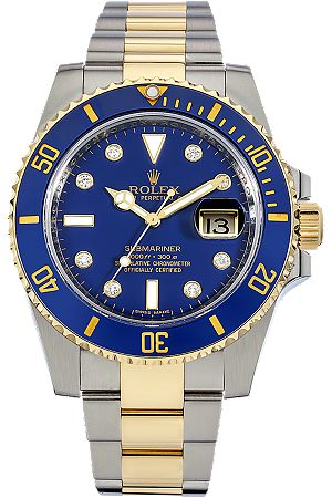 Certified Pre Owned >> Rolex Watch - Submariner - Blue Face - Stainless Steel & 18K Gold | Jewlery & Watches ...