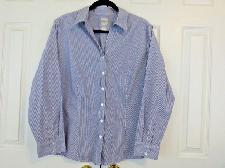 CHICO'S Women's  Stripe Metallic Shirt Stretch White Blue Silver Sz 3 XL 16 #Chicos #Blouse