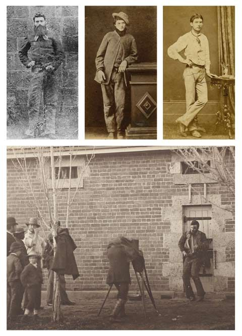 The Kelly Gang - L-R: Ned Kelly, Dan Kelly & Steve Hart - below is Joe Byrne who was photographed posthumously following the legendary shoot out at Glenrowan, Victoria. ~M x