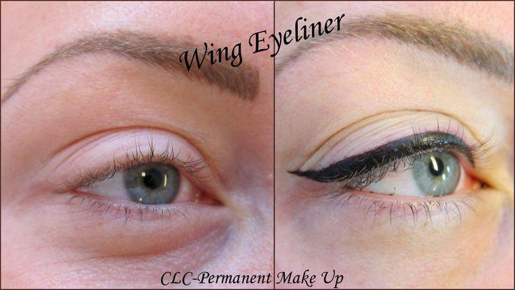 Eyeliner direct na het zetten. Brede eyeliner met wing.