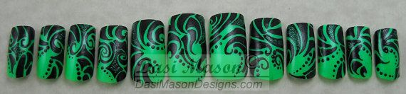 Neon Green Tribal Instant Acrylic Nail Set by dasimason on Etsy, $10.00