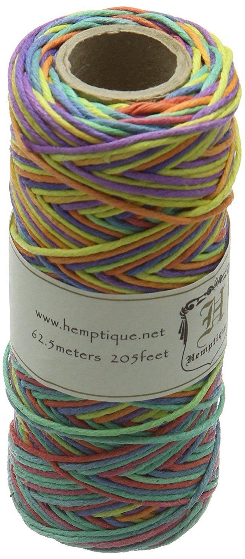 Amazon Com Hemp Cord Spool Variegated 20 205 Feet Pkg Rainbow Beading Supplies Pine Needle Baskets Variegated