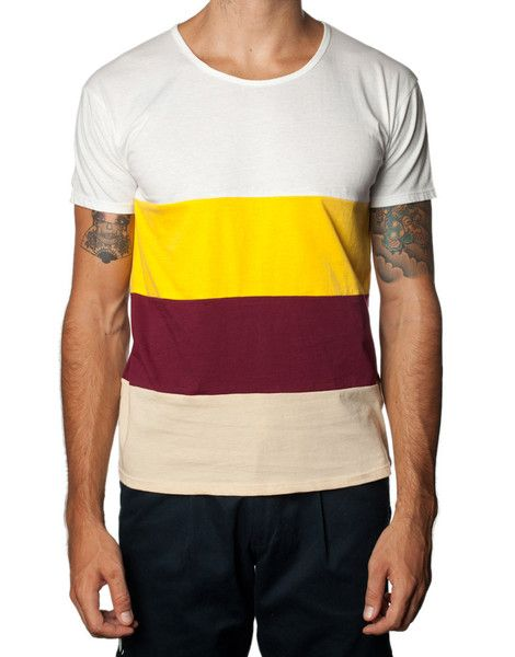 FRANKSLAND Sunny Tee - Yellow and white striped tshirt