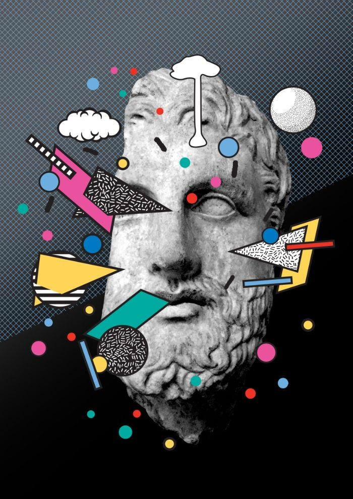 Inner Thoughts Statue Memphis Collage 1, statue, memphis, design, graphic, collage, color, colour, memphismilano, Society6, memphisdesign, postmodern, 80s, 90s, classical, thoughts, socrates, grid, classical, geometric, geo, modern, rapsquatInner Thoughts Statue Memphis Collage 1 Art Print
