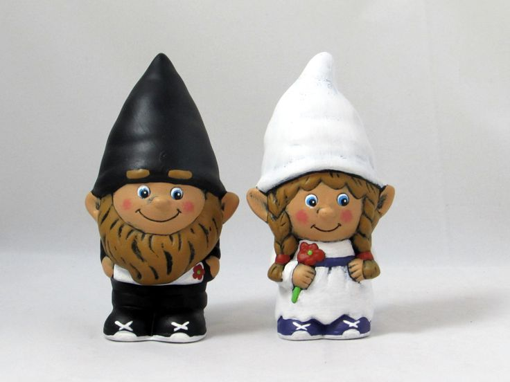 Custom Painted Gnome Cake Topper Set for Weddings, custom shoes - 5 inches, garden gnome, outdoor or indoor, wedding cake toppers by aarceramics on Etsy
