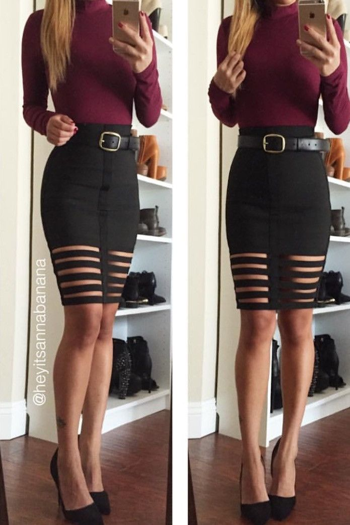Caged High Waist Bandage Skirt - Black You know you want it! Shop it!
