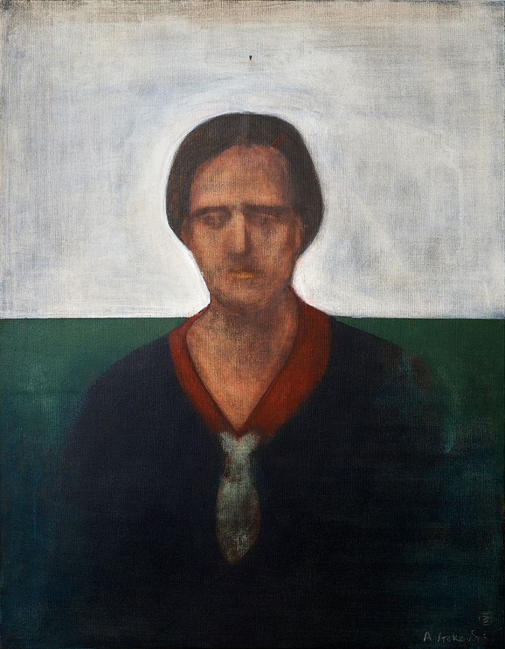 "Apostolis Itskoudis, ""Teacher"", (Δασκάλα), acrylics on canvas, 70Χ90 cm, 2016."