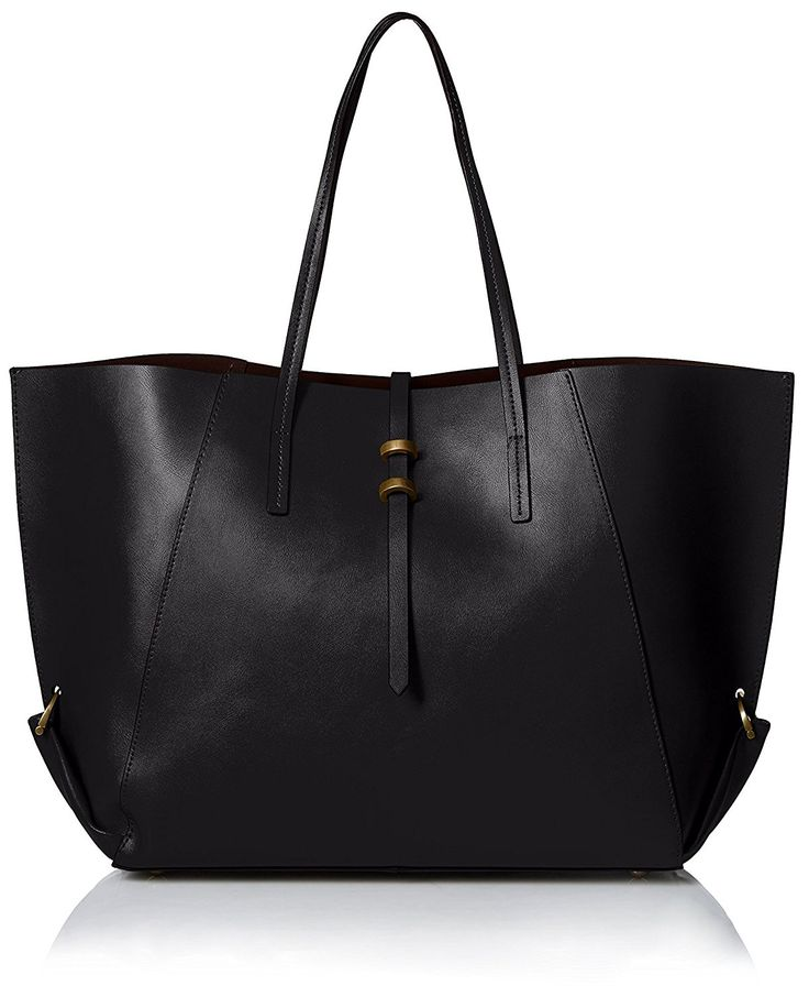 ZAC Zac Posen Women's Contrast Lined Eartha Folded Gusset Shopper, Black * You can find more details by visiting the image link.