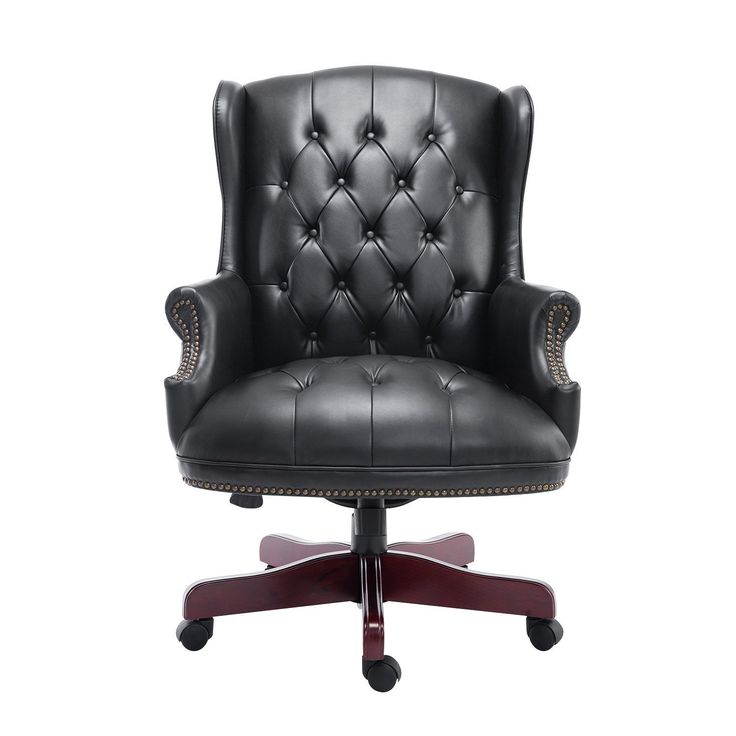 HOMCOM Luxury Rolling Executive Managers Directors Chesterfield Antique High  Back Office Chair PU Leather Padded Swivel