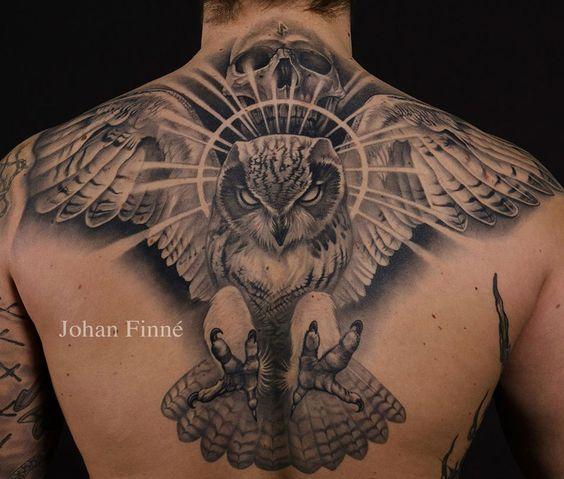Owl & Skull Back Tattoo | Best tattoo design ideas