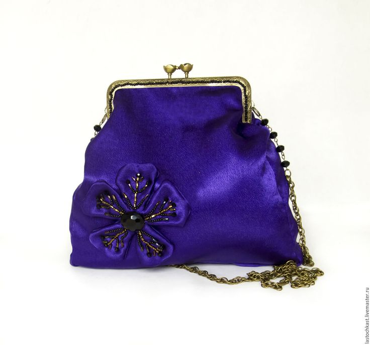 """Купить Маленькая сумочка вечерняя театральная """"Фиолетовый цветок"""" винтаж - тёмно-фиолетовый, желтый"""
