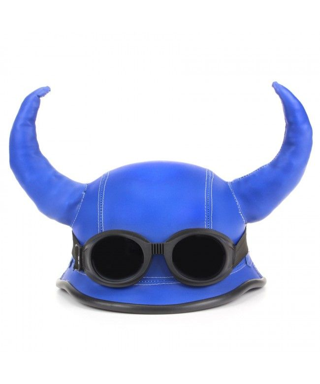 LOUDelephant Viking horned novelty festival helmet with goggles - Blue